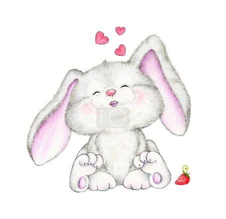 Photo pour Mignon lapin et fraise isolé sur fond blanc - image libre de droit