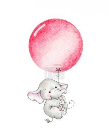 Photo pour Éléphant mignon volant sur ballon rouge isolé sur fond blanc - image libre de droit