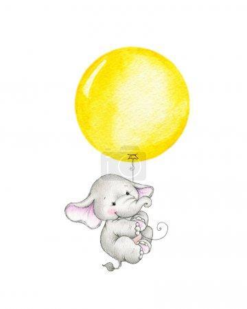 elephant flying on yellow balloon