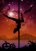 Halloween style silhouette of female pole dancer performing pole moves in front of river and stars Pole dancer in front of space background with Halloween elements