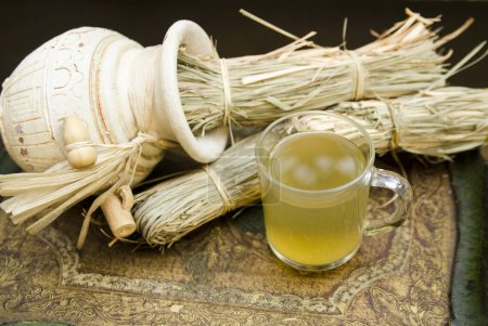 Photo for Chinese herbal tea with rice and bamboo - Royalty Free Image