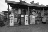 Hackberry, Arizona, USA - February 17, 2020: Exterior of historic Route 66 gas station in Arizona along the historic Route 66.