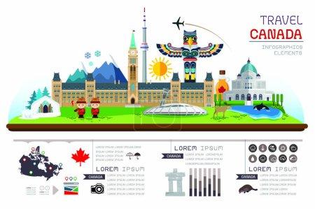 Illustration pour Info garphic travel and landmarks Canada. Modèle de conception. Illustration vectorielle - image libre de droit