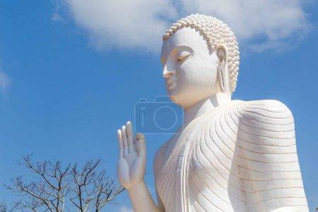 The Buddha Statue in Abhaya Mudra hand pose, symbolizing safety