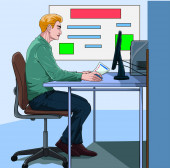 A business person sitting in an office Online meeting Illustration vector On pop art comics style Board meeting background