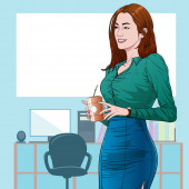 Office women workers holding a cup of coffee in the morning Illustration vector On pop art comic style Board Office background
