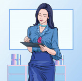 Business women  with touchscreen pad at office Illustration vector On pop art comics style Abstract boards colorful background
