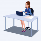 Women in office clothes. Beautiful woman in business clothes. Vector illustration. On cartoons style. Board view background.