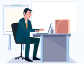 Business men Office cartoon characters. People sit and work at morning. Illustration vector, Board background.