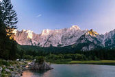 Sunset at the lake of Fusine, Italy
