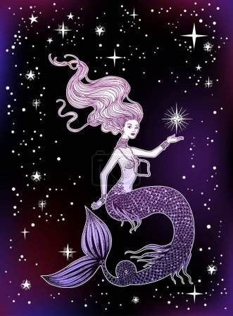 Beautiful mermaid with star in