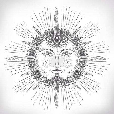 Vintage hand drawn sun face