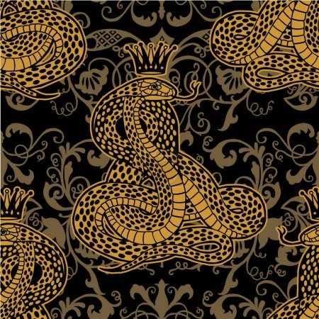 Snake with Crown seamless pattern