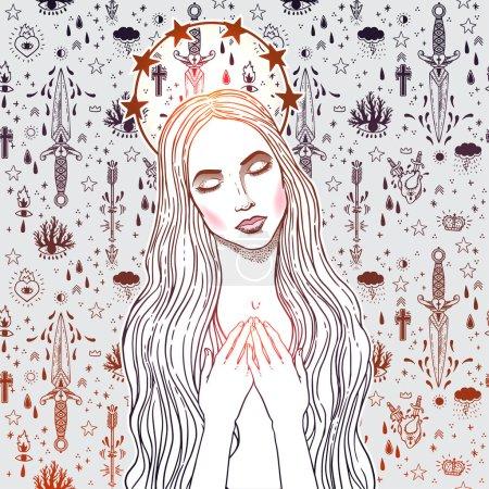 Illustration pour Illustration vectorielle de la Bienheureuse Vierge Marie, Reine du Ciel - image libre de droit