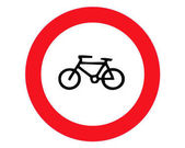 No bicycle bike prohibited flat icon Traffic and road sign vector graphics Solid pattern on white background