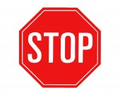 Red stop sign on white background Traffic and road sign vector graphics