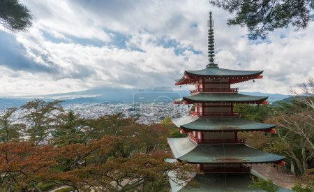 Chureito pagoda and Mountain Fuji with autumn