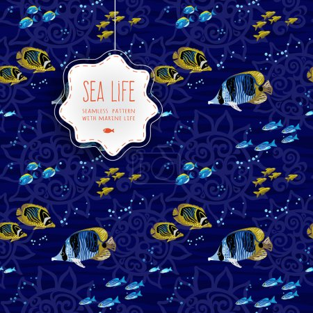Seamless sea life background with fishes.