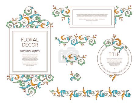 Illustration for Vector illustration design of frames in Eastern style with floral decorations - Royalty Free Image