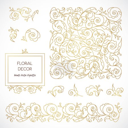 Vector illustration design of golden vignettes in ...