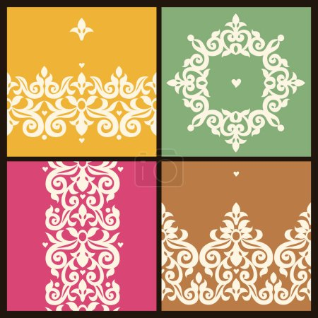 Illustration for Vector illustration design of Filigree frames in Victorian style for wedding invitations and greeting cards - Royalty Free Image