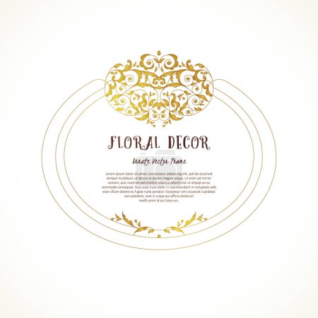 Illustration for Vector vintage frame, vignettes in Eastern style. Ornate floral element for design. Ornamental illustration for invitation, birthday and greeting cards, thank you message. Place for text. Golden luxury decor. - Royalty Free Image