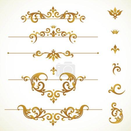 Illustration for Vector set vignettes, frames, scroll elements for design template. Golden floral borders in Victorian style. Ornate decor for invitation, greeting card, label, badge. - Royalty Free Image