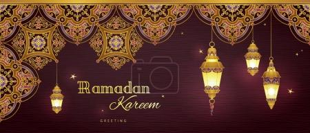 Illustration for Ornate horizontal vector banner, three vintage lanterns for Ramadan wishing. Arabic shining lamps. Decor in Eastern style. Islamic background. Ramadan Kareem greeting card, advertising, discount, poster. - Royalty Free Image