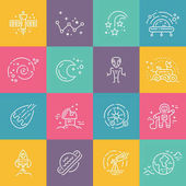 Big collection of uniue icons with different space objects including planets alien cosmonaut solar system rover Line syle vector symbols of space and universe