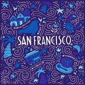 Illustration of San Fransisco with symbols of the city Vector doodle illustration
