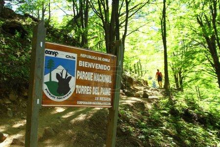 Photo pour Une pension de bienvenue dans le parc national de Torres del Paine. 'Bienvenido 'en espagnol signifie' Bienvenue ', Chili - image libre de droit