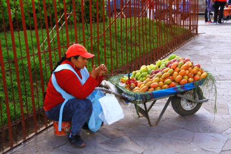 Photo for Fruit sellers in Plaza San Francisco in La Paz. - Royalty Free Image