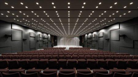 Photo pour Grande salle de conférence avec scène. Illustration 3d - image libre de droit