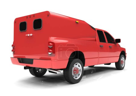 Red commercial vehicle delivery truck with a double cab and a van. Machine without insignia with a clean empty body to accommodate your logos and labels. Machine the fire service. 3d rendering.