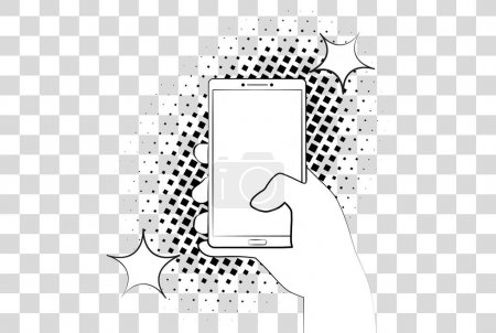 Comic phablet with halftone shadows. Hand holding smartphone. Vector illustration eps 10 isolated on background.