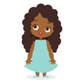 African American girl Vector illustration eps 10 isolated on white background Flat cartoon style