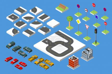 Set Isometric road and Vector Cars, Common road traffic regulatory, Building with a windows and air-conditioning. Vector illustration eps 10 isolated on white background.