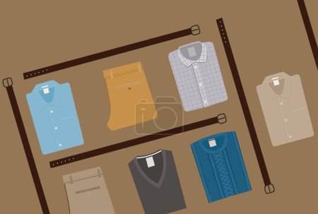 Clothes Fashion background. Menswear concept. Flat style Men Clothing Vector illustration eps 10.