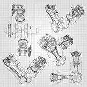 Various engine components pistons chains nozzles and valves are depicted in the form of lines and contours 3D drawing of assembly and parts