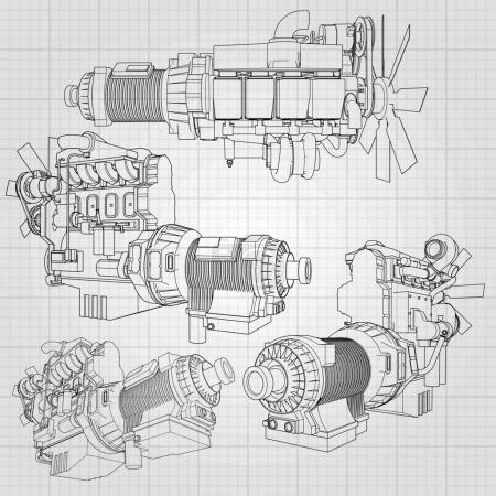 Illustration for A big diesel engine with the truck depicted in the contour lines on graph paper. The contours of the black line on the grey background - Royalty Free Image