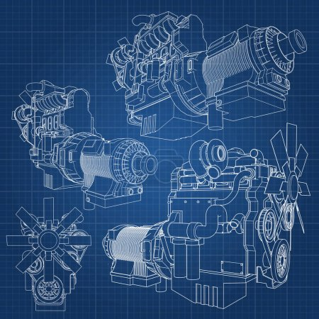 Illustration for A big diesel engine with the truck depicted in the contour lines on graph paper. The contours of the black line on the blue background - Royalty Free Image