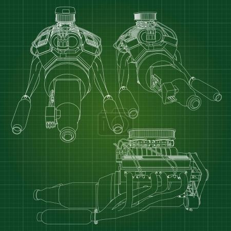 Illustration pour Un gros moteur diesel avec le camion représenté dans les lignes de contour sur papier graphique. Les contours de la ligne noire sur le fond vert - image libre de droit