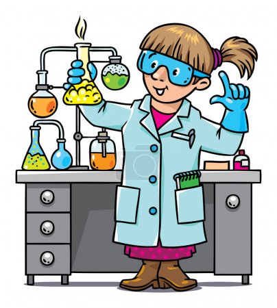 Photo for Childrens vector illustration of funny chemist or scientist. A woman in glasses dressed in a lab coat and gloves with smocking retort. Profession series. - Royalty Free Image