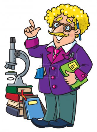 Photo for Childrens vector illustration of funny scientist or inventor. A man in glasses and suit with books, folders and microscope raised index finger. Profesion ABC series. - Royalty Free Image
