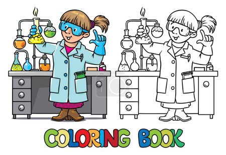 Photo for Coloring picture or coloring book of funny chemist or scientist. A woman in glasses dressed in a lab coat and gloves with smocking retort or vial. Profession series. Childrens vector illustration. - Royalty Free Image