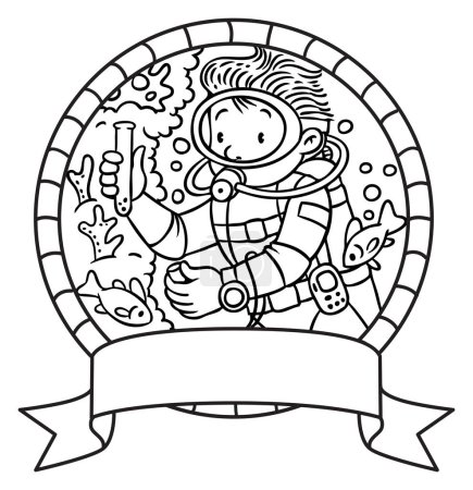 Oceanographer or diver. Coloring book or Emblem