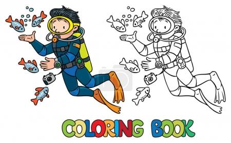 Funny oceanographer or diver. Coloring book