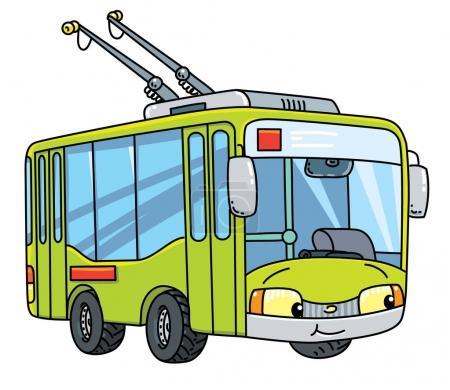 Illustration pour Chariot ou trolleybus. Petite voiture drôle vecteur mignon avec les yeux et la bouche. Illustration vectorielle enfants - image libre de droit