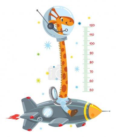 Giraffe on rocket. Meter wall or height chart