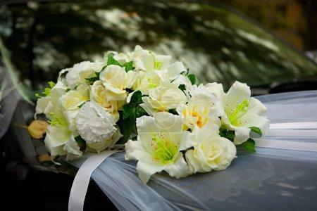 Bright bridal bouquet close-up